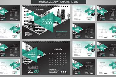 2020年绿色年历矢量素材