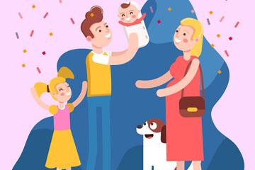 创意幸福四口之家和宠物狗矢量图