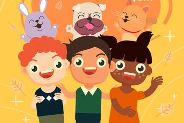 可爱友谊日儿童和动物矢量素材