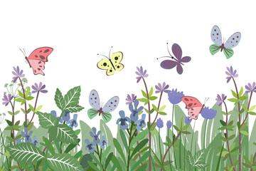 创意花丛和蝴蝶矢量素材