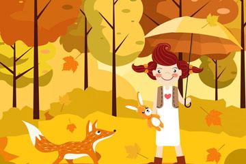 创意秋季森林女孩和狐狸矢量图