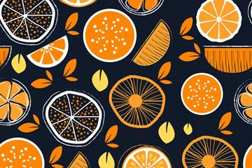 创意橙子无缝背景矢量素材