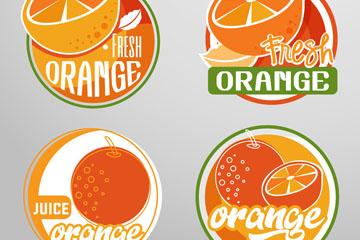 4款创意橙汁标签矢量素材