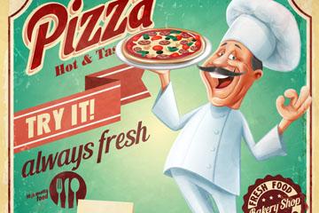 创意厨师披萨店海报矢量素材