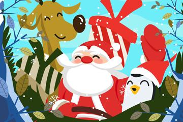 可爱冬季圣诞老人矢量素材