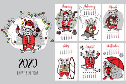 2020年创意老鼠年历矢量图