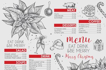 创意圣诞节餐馆菜单矢量素材