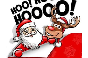 创意大笑圣诞老人和驯鹿矢量素材