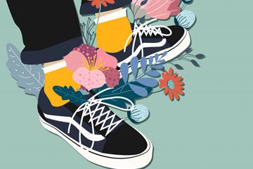 创意板鞋和花卉矢量素材