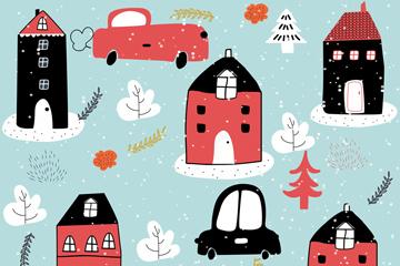 创意冬季房屋和车辆无缝背景矢量图