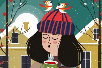 创意冬季喝咖啡的女子矢量图