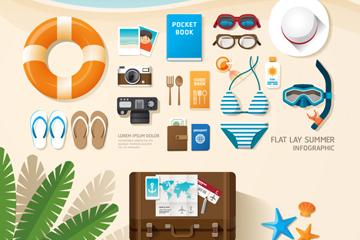 19款创意夏季度假物品矢量素材