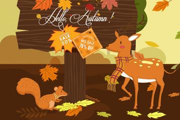 复古秋季促销木牌和动物矢量图