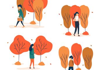 4款创意秋季无表情人物矢量图