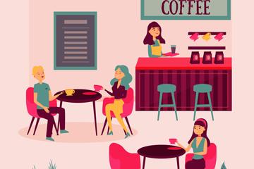 卡通�I�I中咖啡�^�O�矢量�D