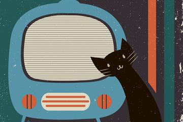 复古电视和黑色猫咪矢量素材