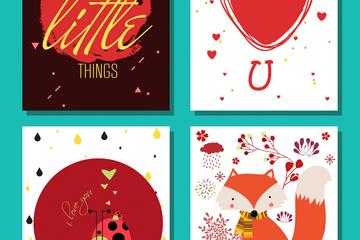 4款红色卡片设计矢量素材
