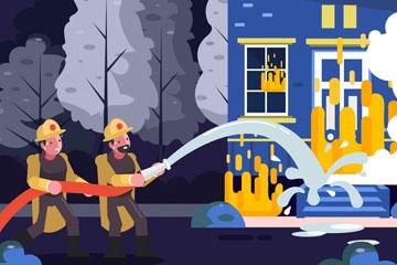 创意消防员救火场景矢量素材