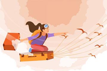 创意乘坐旅行箱飞行的女子矢量图