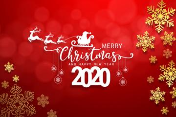 2020年金色雪花圣诞雪橇贺卡矢量