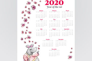 2020年手绘老鼠年历矢量素材