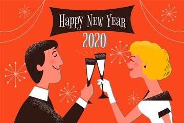 2020年创意举杯庆祝新年的男女矢