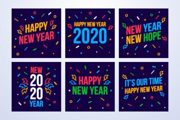 6款2020年彩色新年快乐卡片矢量