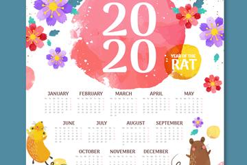 2020年彩绘花卉和老鼠年历矢量图