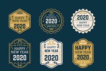 6款复古2020年新年标签矢量图