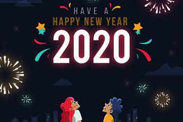 2020年创意仰望夜空的新年男女矢