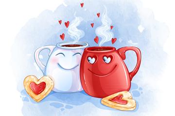 卡通咖啡杯情�H矢量素材