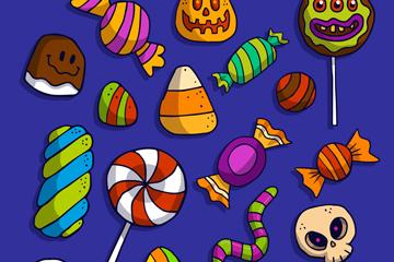 17款彩色�f圣�糖果矢量素材
