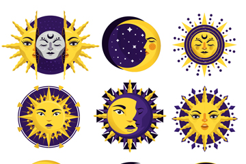 9款��意太�和月亮矢量素材
