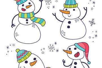 4款卡通笑�雪人矢量素材