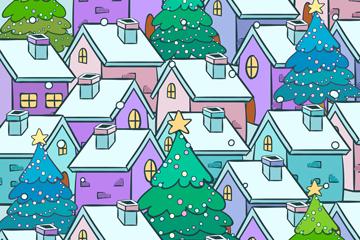 彩色雪中城市房屋�L景矢量素材