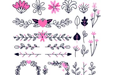 24款��意�b�花�y花卉矢量素材