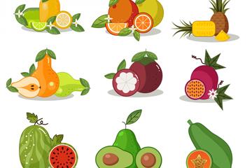 9�M彩色水果�O�矢量素材