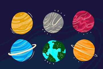 9款抽象太�系行星矢量素材