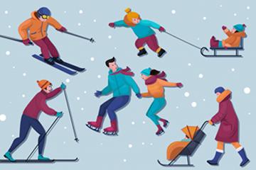 7款冬季滑雪人物�O�矢量素材