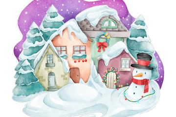 水彩�L雪中的小屋和雪人矢量�D