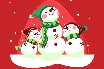 卡通雪中的雪人矢量素材