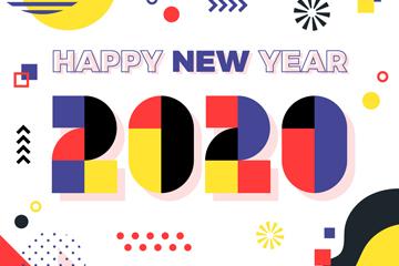 2020年拼色新年��g字矢量素材