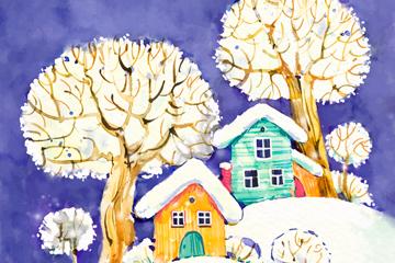 彩�L雪地上的房屋和�淠撅L景矢量�D