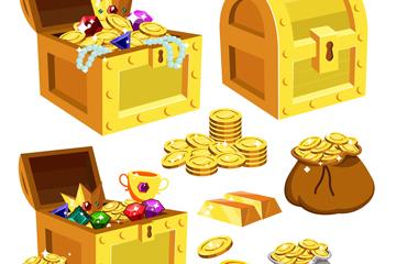 5款卡通藏��箱和金�糯�子矢量素材