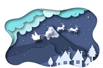 ��意雪夜圣�Q雪橇剪�N��矢量素材