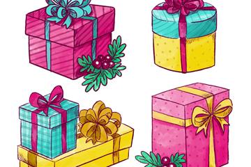 5款彩色�日�Y盒矢量素材