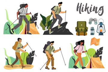 5款��意徒步旅行人物矢量素材