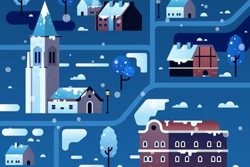 ��意冬季雪夜小城�L景�O�矢量素材