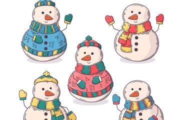5款彩�L冬季雪人矢量素材