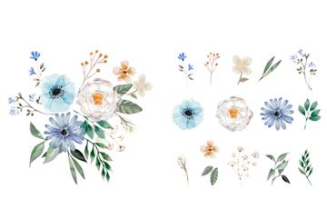彩�L花朵和�M合花束矢量素材